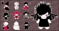 Cute Halloween characters set vector material