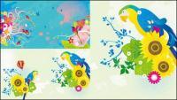 Colorful bird theme vector material