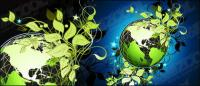 Green leaf material vector of the Earth