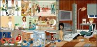 Series vector illustration of men and women of modern material-3