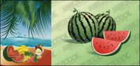 The seaside feast of fruits vector material