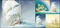 exquisite ancient sailing vector material