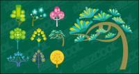 Cute cartoon trees vector material