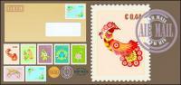 Postmark stamp envelope vector material