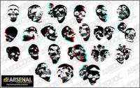 Go Media production trend vector material Set13-3D skull