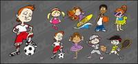 Cute cartoon characters movement vector material