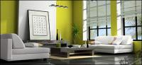 Green modern living room picture material