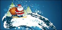 Santa Claus skiing Vector material