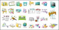 School items icon vector material