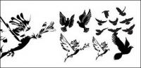 black-and-white doves or silhouette vector material