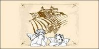 Line drawing Cupid and Eros Manor vector material
