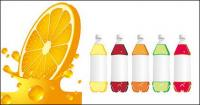 Orange juice bottles and empty vector material