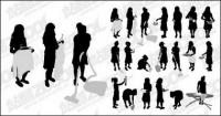 Action figures do housework silhouette vector material