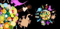 Children animal flowers vector material