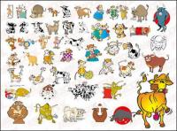 N many cartoon cow vector material