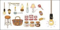 Hand-painted icon vector material supplies home