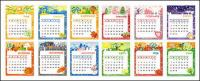 Lovely calendar template vector material