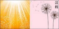 Dandelion and light vector background material