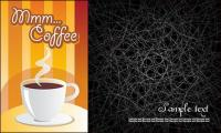 Line and coffee background clutter vector material
