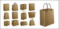Kraft paper bags of material empty vector