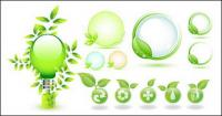 Green leaves vector icon theme of environmentally-friendly materials
