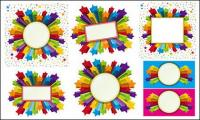 Border stars colorful three-dimensional vector material