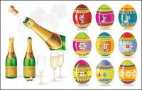 Champagne and Easter eggs Vector material