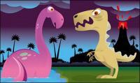 Cute dinosaur vector material