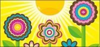 Lovely flowers, the sun vector material