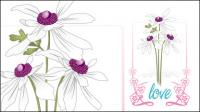 Vector love flowers lace material