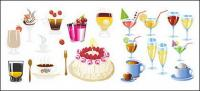 Drinks and cake Vector material