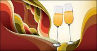 Champagne glasses Vector background material trends