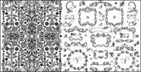 Practical black and white lace pattern vector material