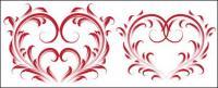 4 beautiful heart-shaped pattern vector material