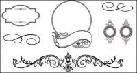 Several European-style lace pattern vector material