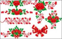 Beautiful rose lace Vector material