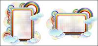 Rainbow clouds cute vector border