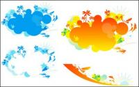 Colorful beach vector material