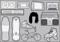 Material retro vector 1985