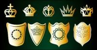Golden crown and shield vector material