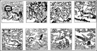 Chinese classical vector of the material 24
