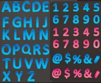 Color three-dimensional letters and numbers vector material