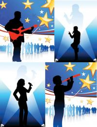 Music People silhouettes vector material