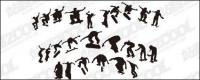 Skateboarding figure silhouettes vector material