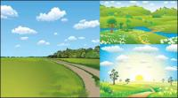 3 natural scenery vector material