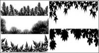Material of various leaf silhouette vector