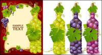 Bottles filled with grape vector material