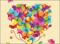 Colorful Butterfly Vector composed of trees
