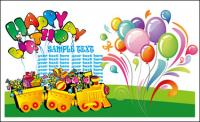 Happy birthday theme vector of material