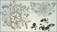 Line-drawing flower pattern vectors of material